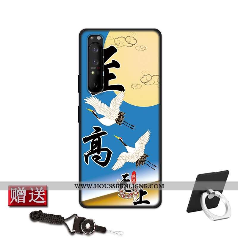 Coque Sony Xperia 1 Ii Fluide Doux Silicone Protection Étui Téléphone Portable Délavé En Daim Bleu