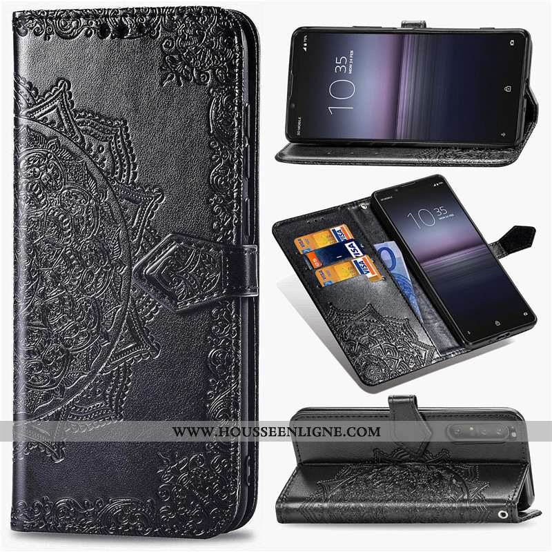 Coque Sony Xperia 1 Ii Ornements Suspendus Gaufrage Téléphone Portable Étui Cuir En Relief Protectio