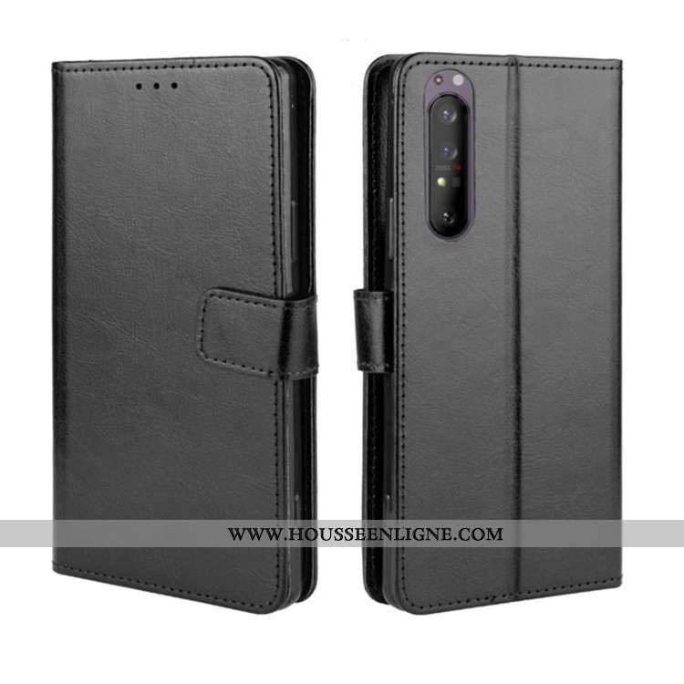 Coque Sony Xperia 1 Ii Portefeuille Cuir Téléphone Portable Étui Housse Noir
