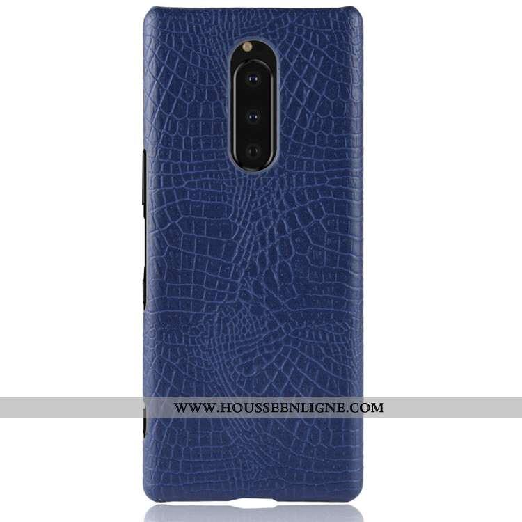 Coque Sony Xperia 1 Modèle Fleurie Protection Cuir Tendance Qualité Téléphone Portable Bleu Foncé