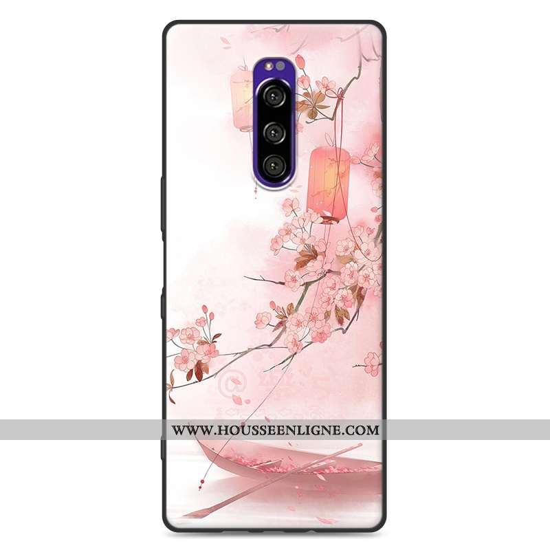 Coque Sony Xperia 1 Protection Délavé En Daim Fluide Doux Vent Style Chinois Rose