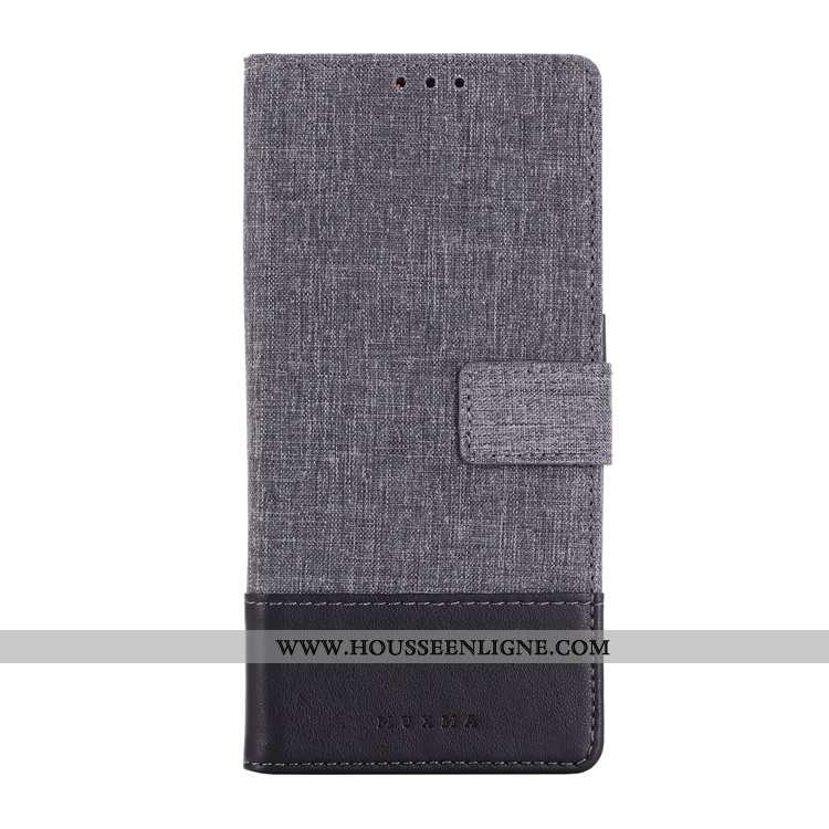 Coque Sony Xperia 10 Cuir Gris Étui Housse Toile Téléphone Portable