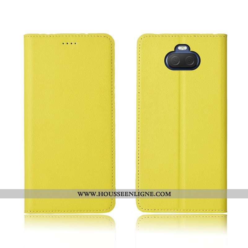 Coque Sony Xperia 10 Fluide Doux Silicone Cuir Véritable Clamshell Nouveau Délavé En Daim Tout Compr