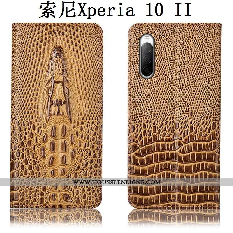 Coque Sony Xperia 10 Ii Cuir Véritable Protection Incassable Kaki Tout Compris Étui Housse Khaki