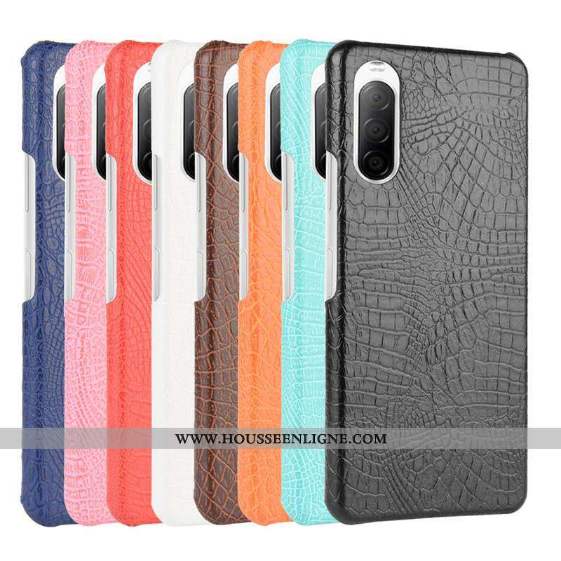 Coque Sony Xperia 10 Ii Protection Cuir Qualité Étui Téléphone Portable Difficile Noir