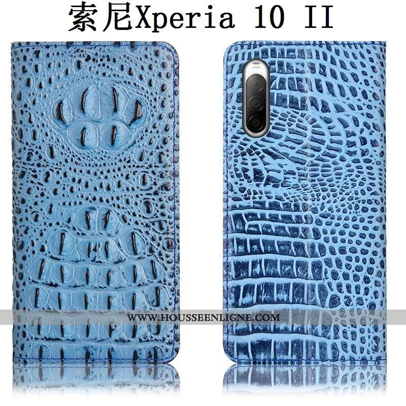 Coque Sony Xperia 10 Ii Protection Cuir Véritable Housse Téléphone Portable Bleu Incassable