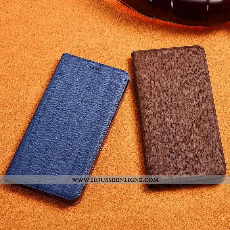 Coque Sony Xperia 10 Plus Délavé En Daim Cuir Arbres Fluide Doux Incassable Étui Bleu