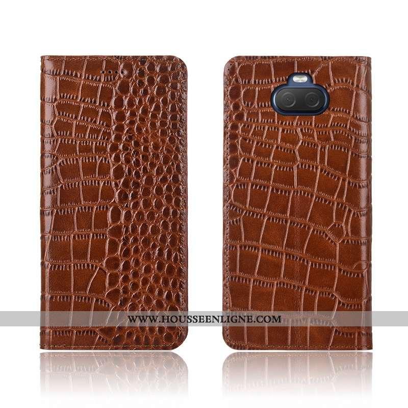 Coque Sony Xperia 10 Plus Fluide Doux Silicone Crocodile Délavé En Daim Incassable Cuir Clamshell Ma