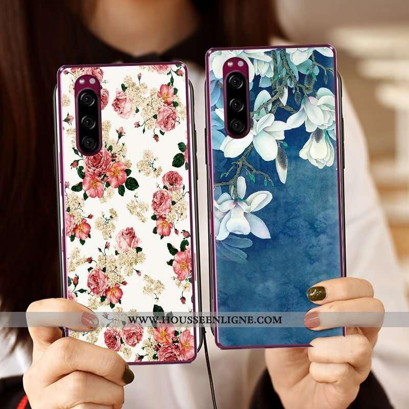 Coque Sony Xperia 5 Créatif Dessin Animé Téléphone Portable Nouveau Peinture Tissu Bleu