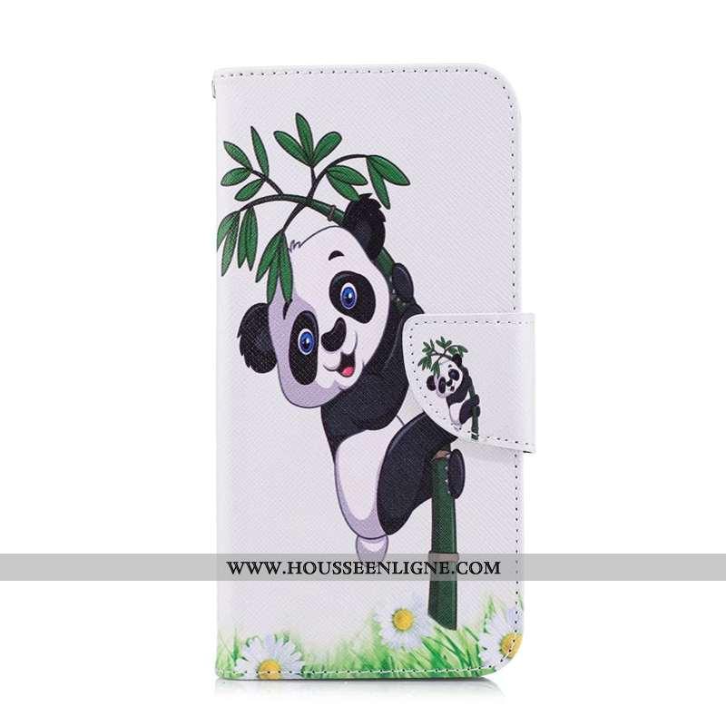 Coque Sony Xperia 5 Cuir Protection Peinture Étui Housse Téléphone Portable Blanche