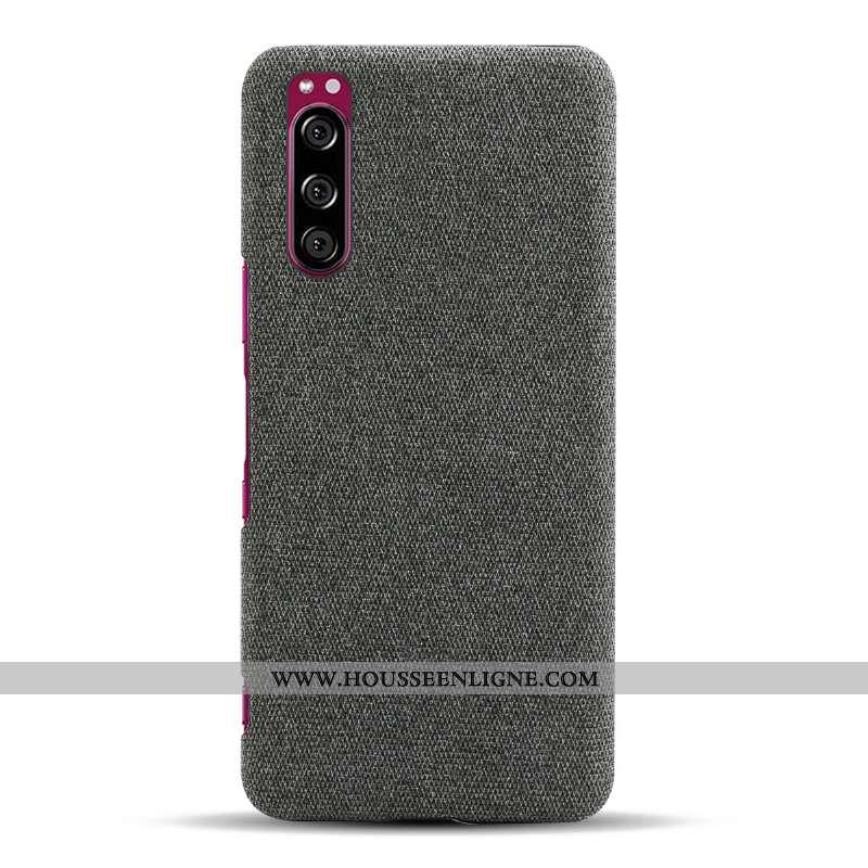 Coque Sony Xperia 5 Légère Protection Étui Téléphone Portable Noir Légères Tissu