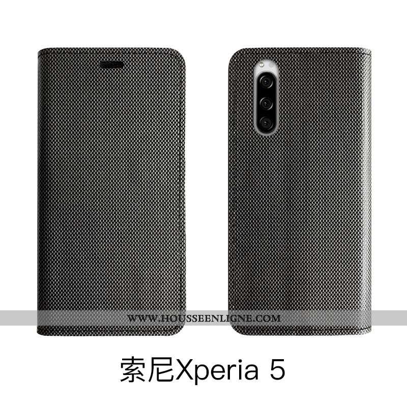 Coque Sony Xperia 5 Luxe Cuir Véritable Noir Housse Étui Téléphone Portable