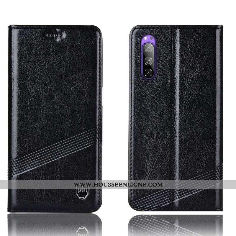 Coque Sony Xperia 5 Protection Cuir Véritable Téléphone Portable Housse Incassable Noir Modèle Fleur