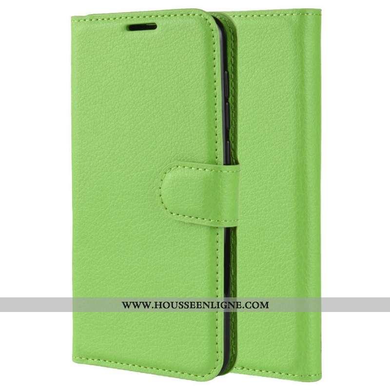 Coque Sony Xperia 5 Protection Cuir Vert Simple Étui Carte Verte
