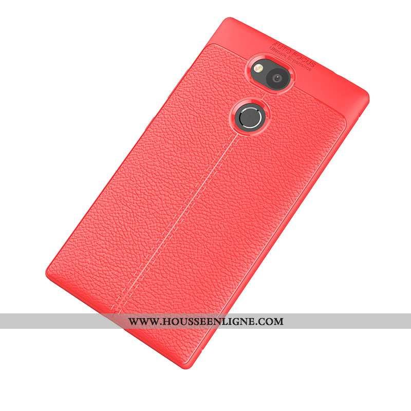 Coque Sony Xperia L2 Silicone Protection Étui Téléphone Portable Cuir Modèle Fleurie Rouge