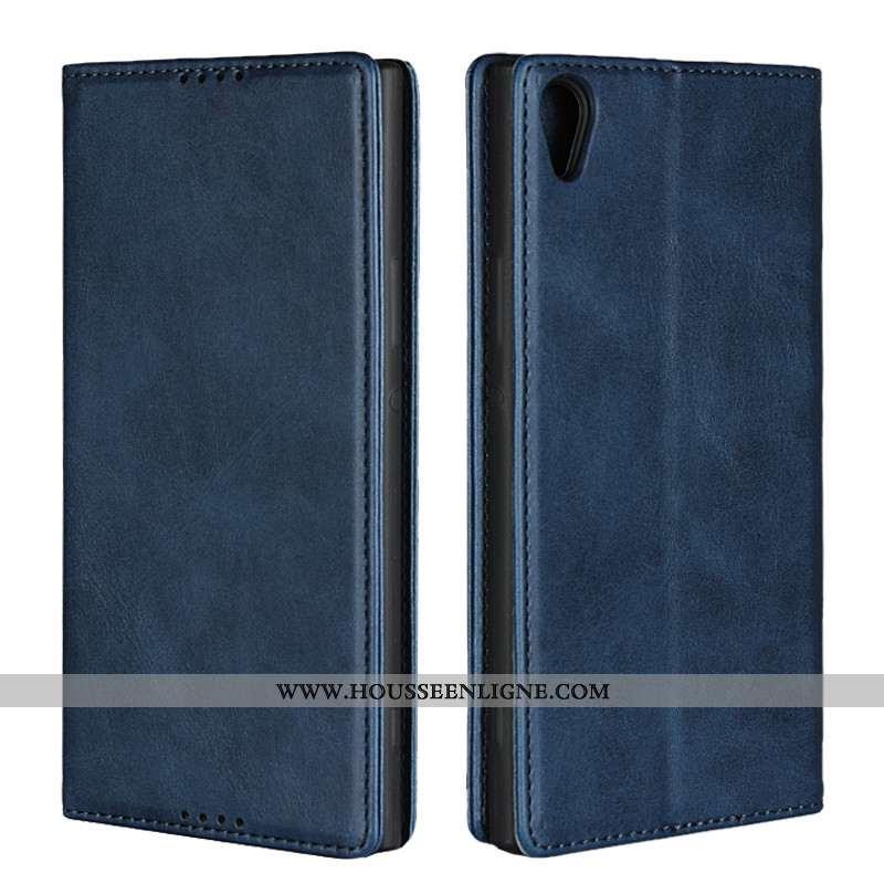 Coque Sony Xperia Xa1 Cuir Modèle Fleurie Bleu Protection Téléphone Portable Étui Bovins