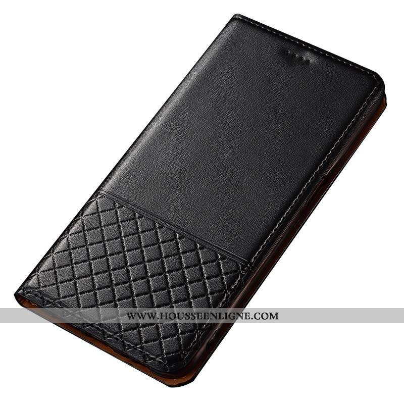 Coque Sony Xperia Xa1 Plus Protection Cuir Véritable Cuir Haut Cuir Noir Luxe Téléphone Portable