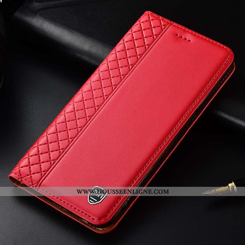 Coque Sony Xperia Xa1 Plus Protection Cuir Véritable Téléphone Portable Luxe Étui Rouge Cuir
