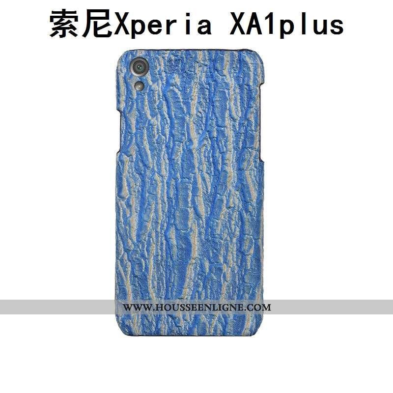 Coque Sony Xperia Xa1 Plus Protection Luxe Bleu Cuir Personnalisé Personnalité Étui