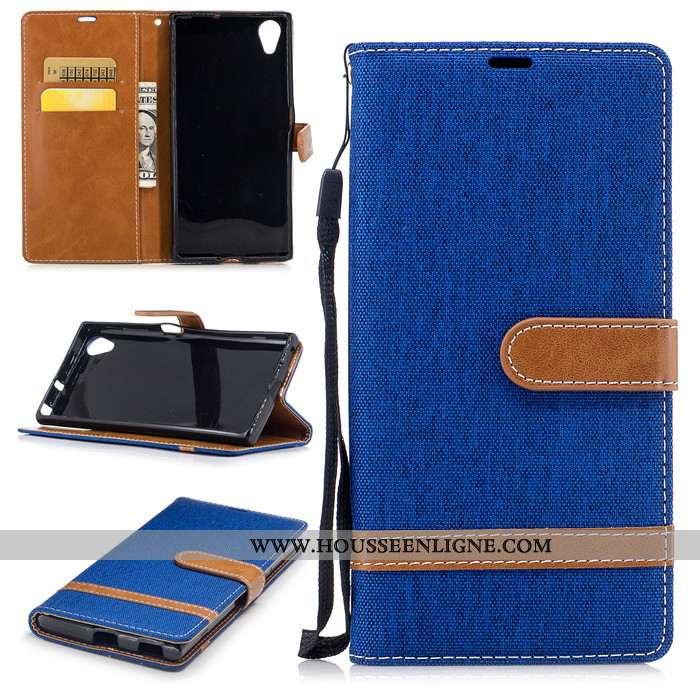 Coque Sony Xperia Xa1 Plus Silicone Protection Housse Bordure Cuir Téléphone Portable Bleu