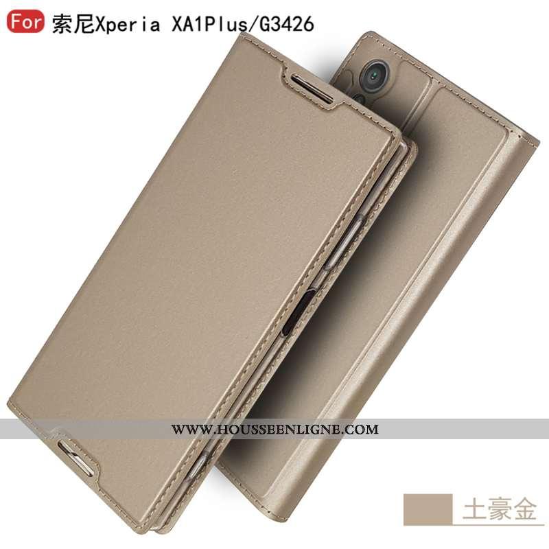 Coque Sony Xperia Xa1 Plus Tendance Cuir Tout Compris Étui Mode Personnalité Téléphone Portable Doré