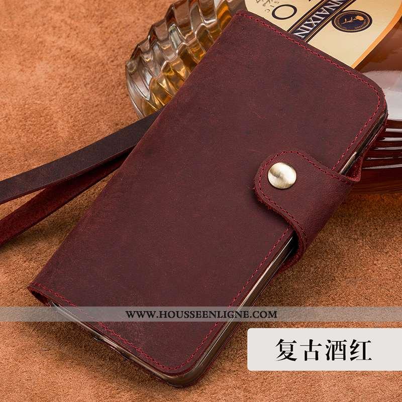 Coque Sony Xperia Xa1 Protection Cuir Véritable Housse Étui Fluide Doux Vin Rouge Bordeaux
