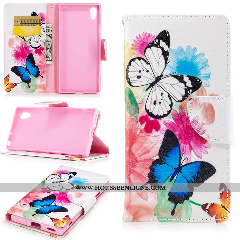 Coque Sony Xperia Xa1 Protection Portefeuille Téléphone Portable Housse Étui Blanc Blanche