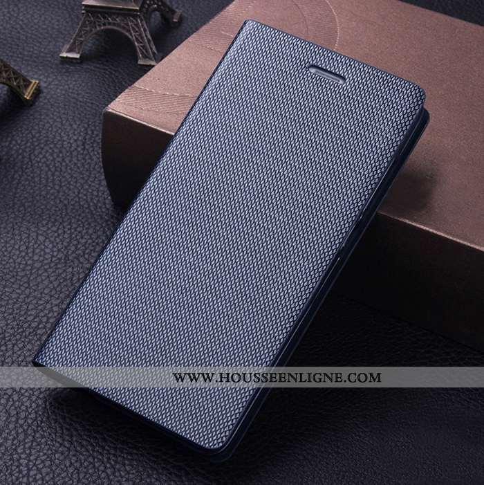 Coque Sony Xperia Xa1 Ultra Cuir Véritable Cuir Protection Téléphone Portable Étui Bleu Marin Bleu F