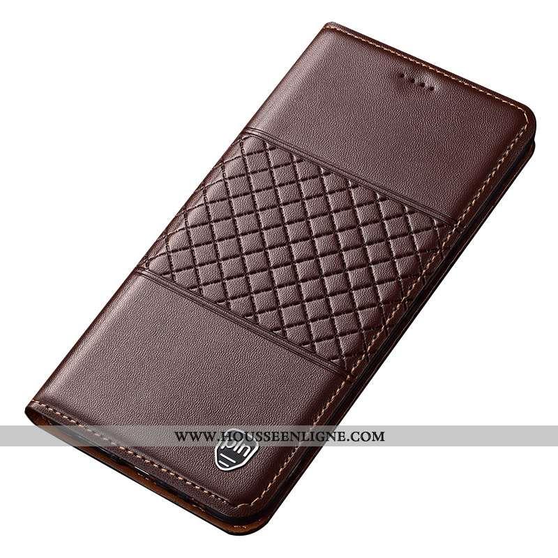 Coque Sony Xperia Xa1 Ultra Cuir Véritable Cuir Téléphone Portable Étui Marron Protection
