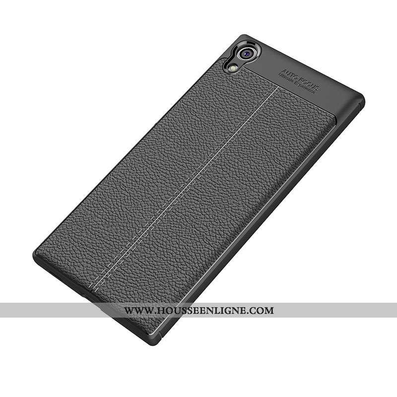 Coque Sony Xperia Xa1 Ultra Modèle Fleurie Fluide Doux Noir Protection Cuir Tout Compris