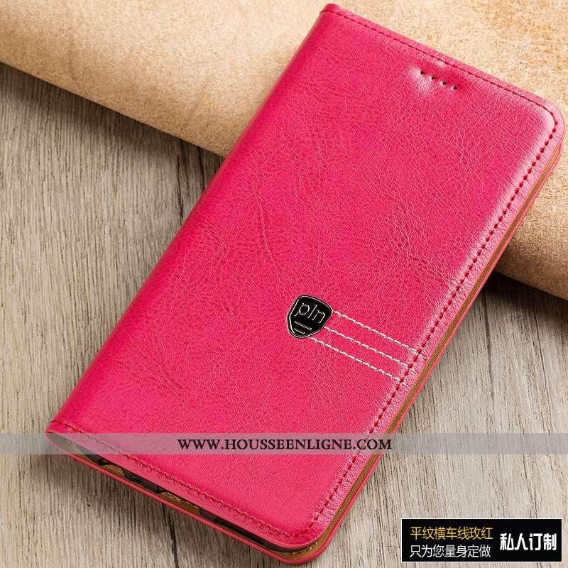 Coque Sony Xperia Xa1 Ultra Protection Cuir Véritable Étui Téléphone Portable Rouge Manuel Rose