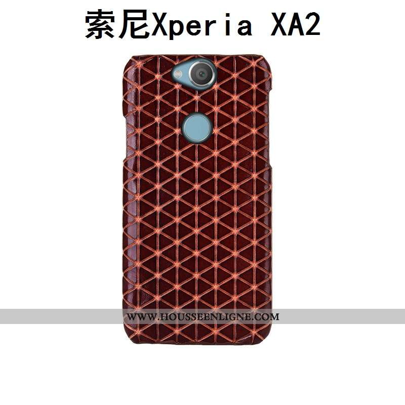 Coque Sony Xperia Xa2 Cuir Véritable Mode Couvercle Arrière Protection Plaid Personnalisé Luxe Marro
