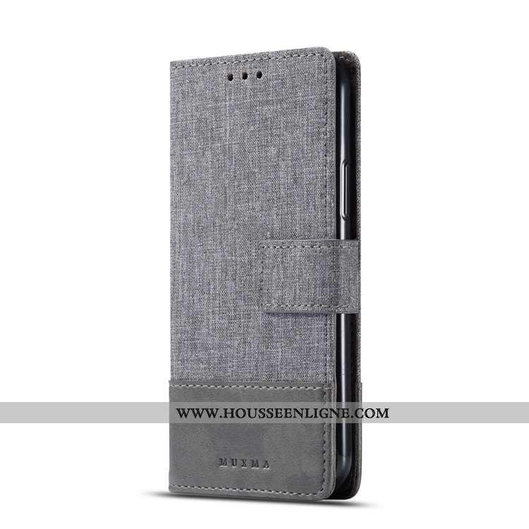 Coque Sony Xperia Xa2 Fluide Doux Protection Gris Étui Téléphone Portable Denim Modèle Fleurie