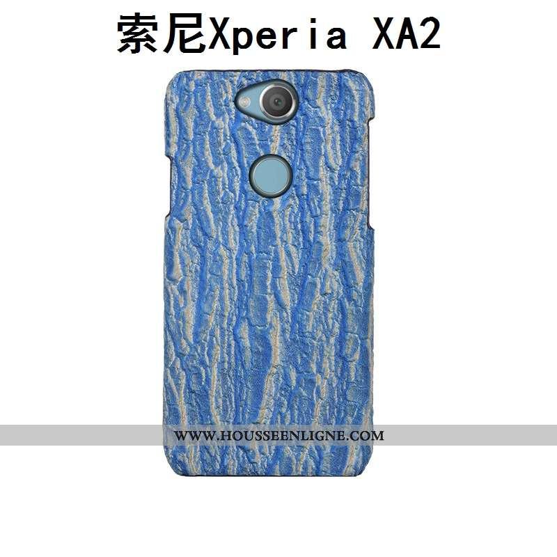 Coque Sony Xperia Xa2 Luxe Créatif Étui Cuir Arbres Bleu Couvercle Arrière