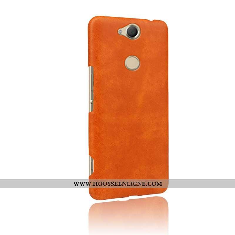 Coque Sony Xperia Xa2 Plus Protection Cuir Téléphone Portable Qualité Difficile Étui Orange