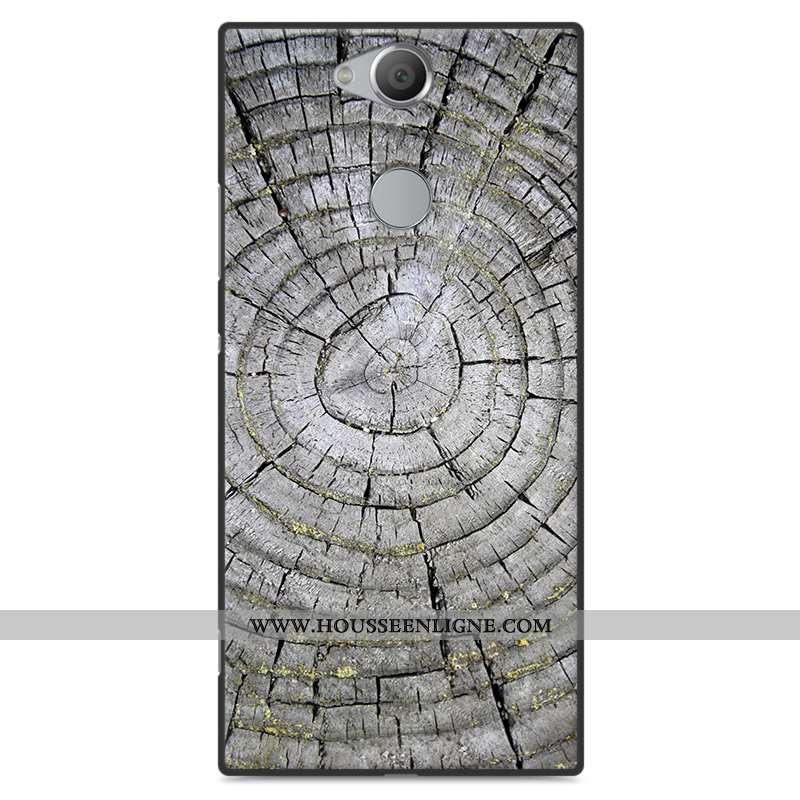 Coque Sony Xperia Xa2 Plus Protection En Bois Simple Vent Téléphone Portable Fluide Doux Étui Gris