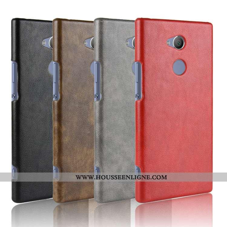 Coque Sony Xperia Xa2 Protection Cuir Téléphone Portable Difficile Rouge Étui