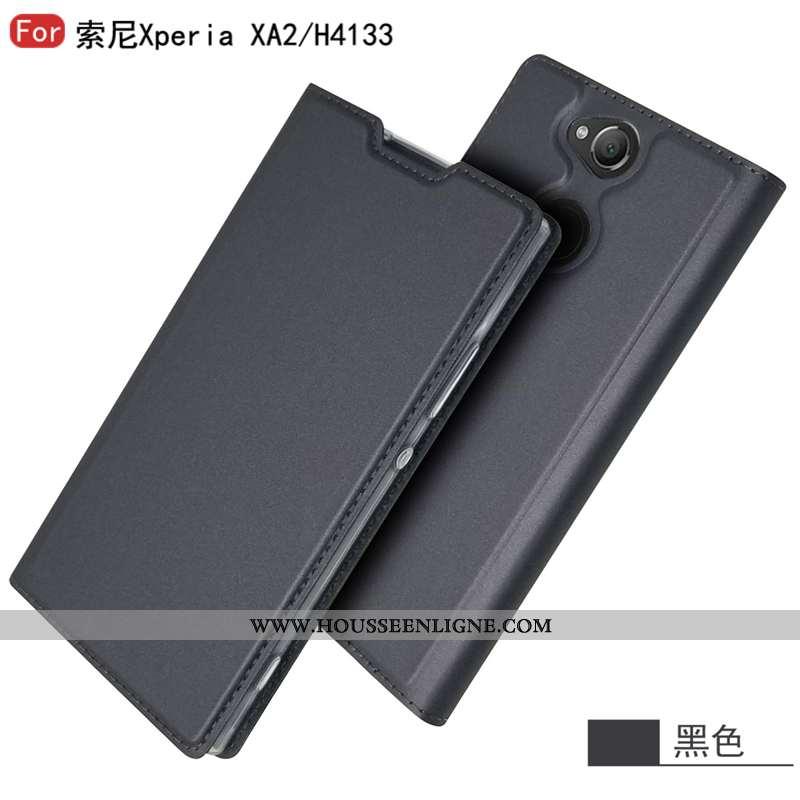 Coque Sony Xperia Xa2 Tendance Cuir Étui Nouveau Noir Téléphone Portable Business