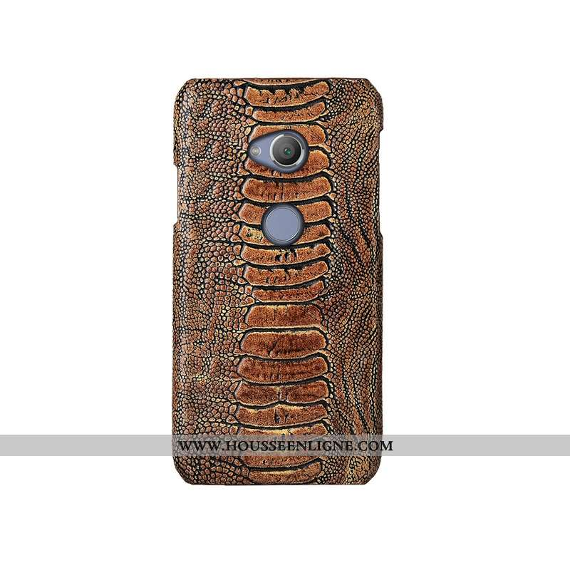 Coque Sony Xperia Xa2 Ultra Luxe Cuir Véritable Bovins Protection Étui Couvercle Arrière Cuir Khaki