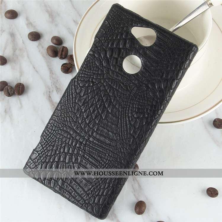 Coque Sony Xperia Xa2 Vintage Modèle Fleurie Protection Difficile Crocodile Téléphone Portable Noir