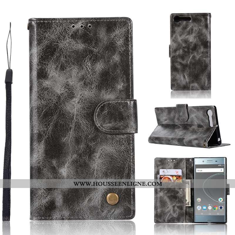 Coque Sony Xperia Xz Premium Portefeuille Cuir Téléphone Portable Carte Étui Support Vintage Gris