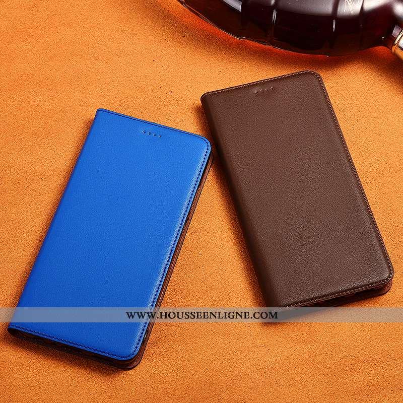 Coque Sony Xperia Xz1 Compact Fluide Doux Silicone Clamshell Nouveau Cuir Véritable Protection Bleu