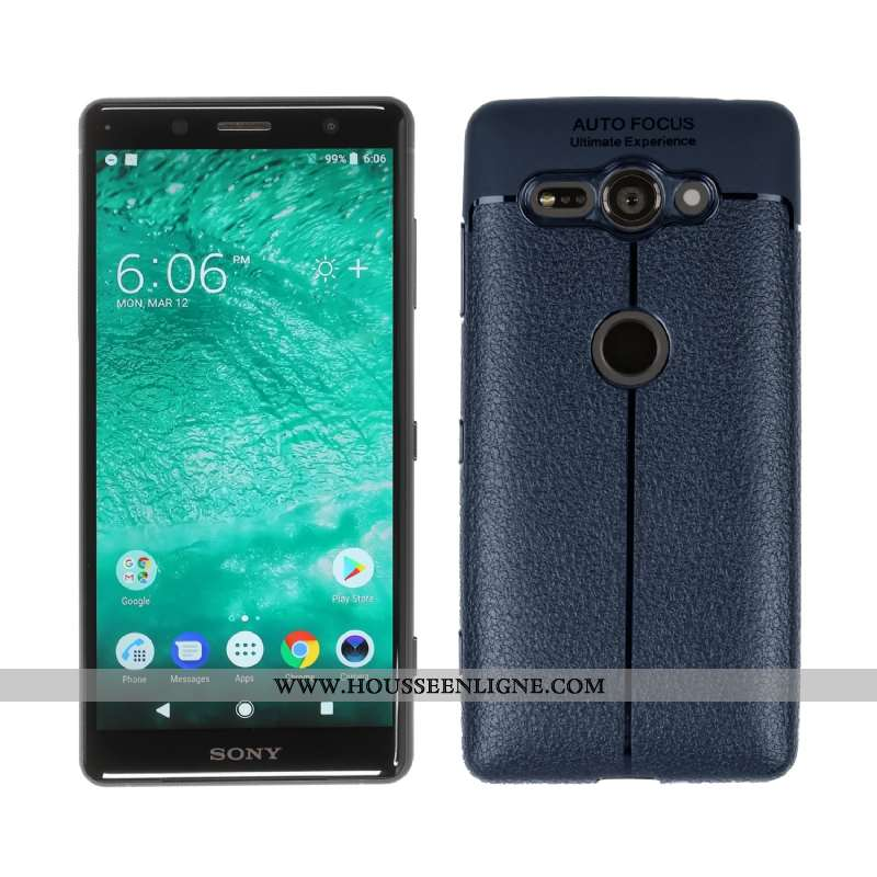 Coque Sony Xperia Xz2 Compact Bleu Marin Téléphone Portable Étui Bleu Foncé
