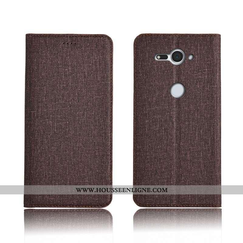 Coque Sony Xperia Xz2 Compact Cuir Fluide Doux Lin Clamshell Marron Téléphone Portable