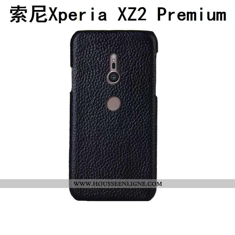 Coque Sony Xperia Xz2 Premium Cuir Véritable Cuir Litchi Mode Personnalisé Noir Incassable