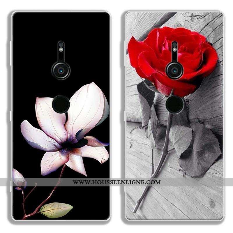 Coque Sony Xperia Xz2 Protection Dessin Animé Noir Tout Compris Téléphone Portable Fluide Doux