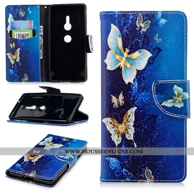 Coque Sony Xperia Xz2 Silicone Gaufrage Bleu Marin Incassable Cuir Tout Compris Étui Bleu Foncé