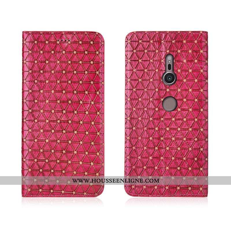 Coque Sony Xperia Xz3 Cuir Véritable Cuir Silicone Nouveau Étui Tout Compris Rouge Rose