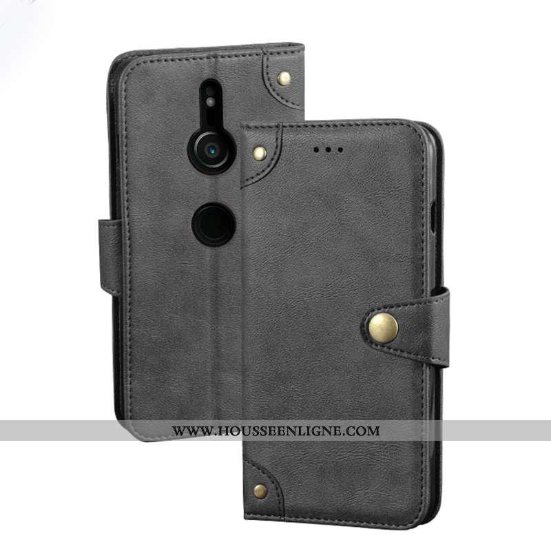 Coque Sony Xperia Xz3 Tendance Cuir Vintage Étui Protection Bordure Portefeuille Noir