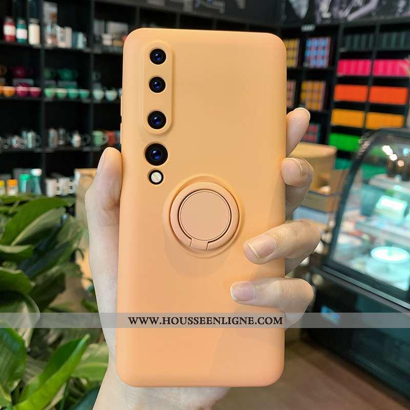 Coque Xiaomi Mi 10 Créatif Silicone Couleur Unie Jaune Étui Net Rouge